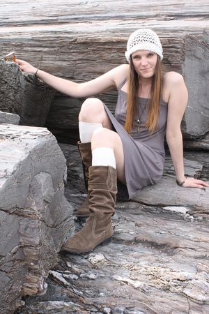gray Soft Grey dress - brown Target boots - white socks - white Forever21 hat
