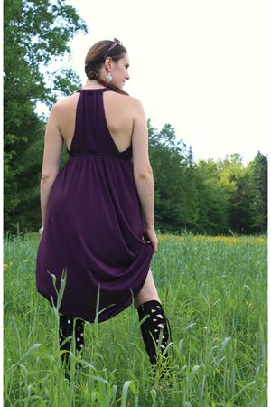 purple dress - black free people shoes