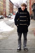 blue American Eagle coat - gray EMERICA jeans - black Vans shoes - blue Jack Wol