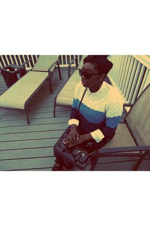 turquoise blue Nordstrom Rack sweater - black satchel H&M bag