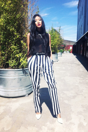 white Alexander Wang pumps - stripe cotton pants - black chiffon asos blouse