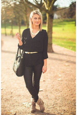 black black H&M blouse - black black studded Aldo bag - light brown BCBG wedges