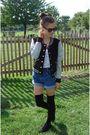 White-american-apparel-top-blue-vintage-shorts-black-h-m-shoes-black-for