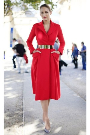 red dress dior jacket
