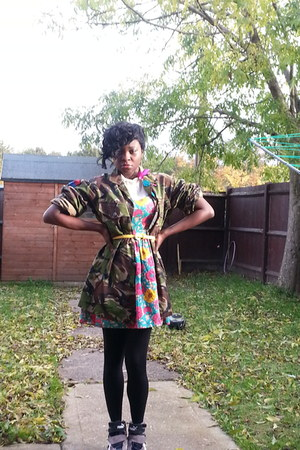 skater dress Primark dress - military jacket Thrift Store coat - Puma sneakers