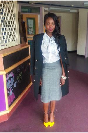 ruffle shirt Topshop top - heather gray dalmys skirt - yellow JojoCat heels