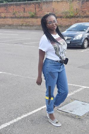 white band t-shirt Primark t-shirt - black tummy belt Missguided bag