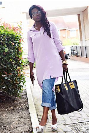 periwinkle shirt dress Forever 21 shirt - violet boyfriend jeans Mango jeans