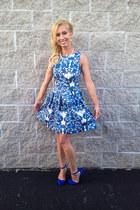 a-line closet dress - electric blue heels