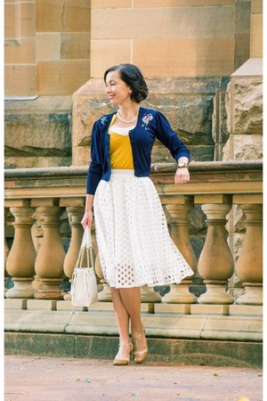 quilted kate spade bag - midi shein skirt - cropped modcloth cardigan