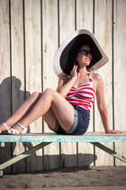 modcloth hat - striped Esther Williams swimwear