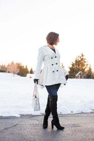 black and white Popjulia coat - over the knee DSW boots - quilted kate spade bag