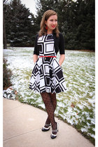 a-line closet dress - polka dot modcloth tights - modcloth heels