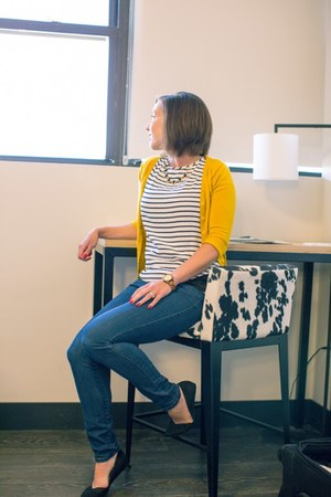 yellow modcloth cardigan - striped H&M top