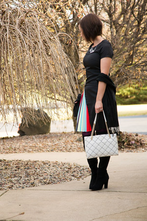 pleated Fashionmia dress - DSW boots - quilted kate spade bag