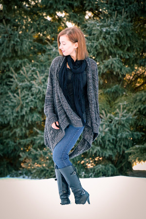 asymmetrical modcloth cardigan - DSW boots