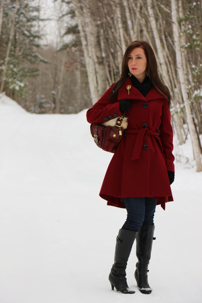 Steve Madden coat - DSW boots - fur lined coach purse