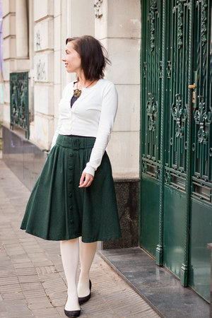 midi modcloth skirt - cropped Review Australia cardigan - Chinese Laundry wedges