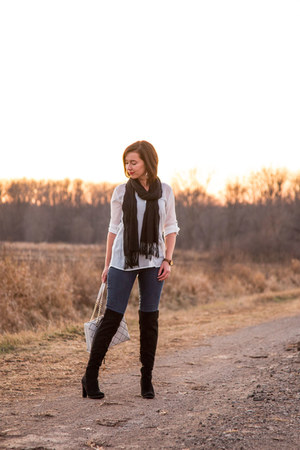 over the knee DSW boots - button up Vanity top