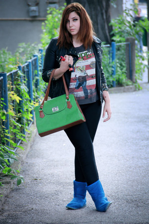 green bag unknown bag - Primark boots - unknown jacket - pull&bear t-shirt