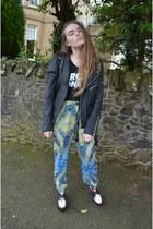 black UNIF jacket - black romwe bag - blue Topshop pants