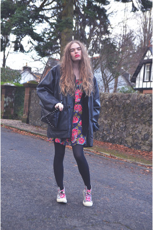 black vintage jacket - violet H by Henry Holland dress - black Primark cardigan