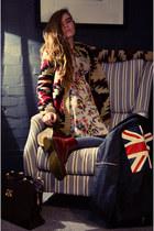 brick red Dr Martens boots - cream Topshop dress - black UNIF jacket