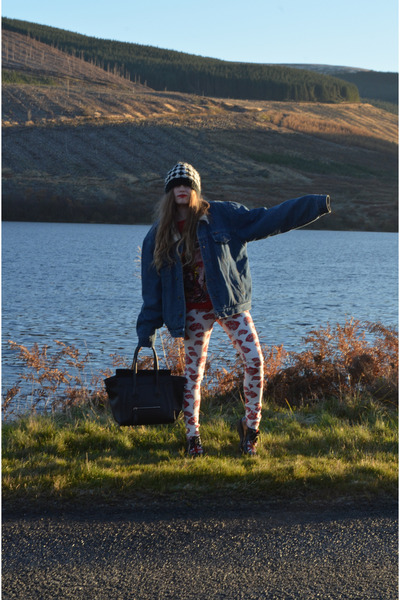 black leather Ebay bag - white JWAnderson x Topshop jeans - blue vintage jacket