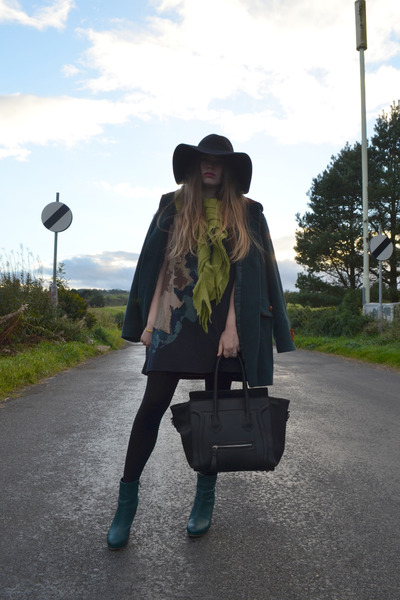 black orion dress - dark green H&M boots - black wool floppy H&M hat