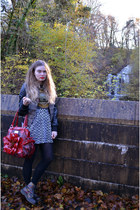 red new york bag - black doc martens boots - black Topshop jacket - H&M skirt