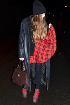 red Jeffrey Campbell boots - black vintage coat - black asos hat