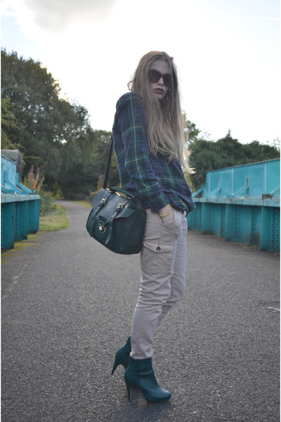 green new look bag - dark green H&M boots - dark green Georges Asda shirt