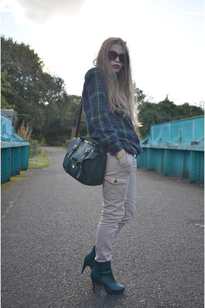 green new look bag - dark green H&M boots - dark green Georges Asda shirt