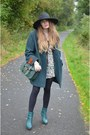 Teal-h-m-boots-black-h-m-hat-dark-green-vintage-jacket