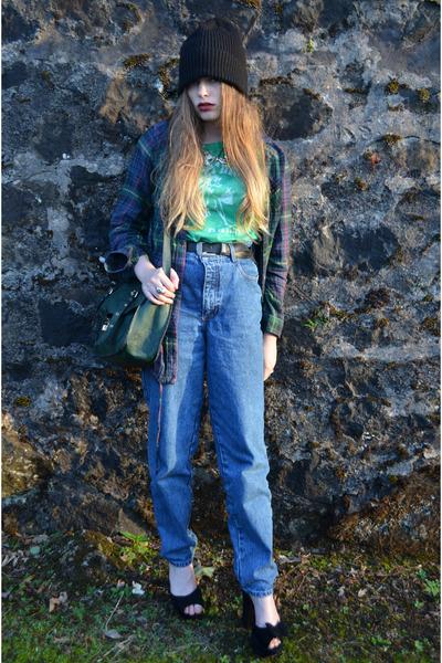 green cotten new look t-shirt - blue Lee Cooper jeans - black asos hat