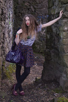 purple Topshop skirt - black Topshop jacket - deep purple new look bag