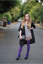 black Marni x H&M coat - deep purple Punkyfish dress - black new look bag