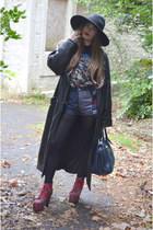 black H&M hat - red Jeffrey Campbell boots - black vintage jacket