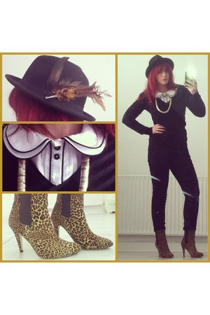 black fedora no brand hat - light brown leopard print Primark boots