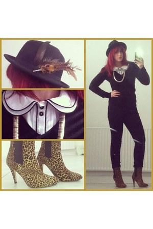 black fedora no brand hat - light brown leopard print Primark boots