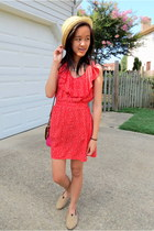 red patterned Forever 21 dress - beige burlap TOMS shoes