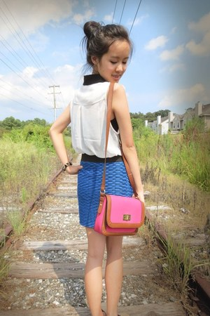 hot pink shoulder H&M bag - tan burlap TOMS shoes - white sheer Forever 21 top