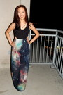Navy-galaxy-print-pacsun-dress-gold-triangle-francescas-necklace