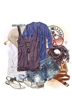 purple Conleys PETIT POINT top - blue Conleys Rich and Royal shorts - blue Conle