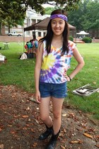 yellow tie-dye t-shirt - black Charlotte Russe boots - blue thrifted diy shorts