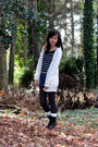 Black-charlotte-russe-boots-black-striped-forever-21-sweater