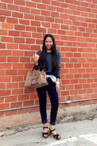 vintage blouse - crewneck Olive & Oak sweater - corduroy MinkPink pants