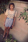 Off-white-lace-forever-21-dress-sky-blue-striped-hollister-skirt
