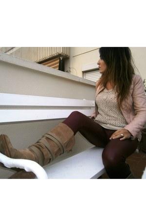 Zara boots - Zara jacket - Mango sweater - Calzedonia leggings