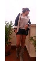 Bershka boots - hollister shorts - Zara cardigan